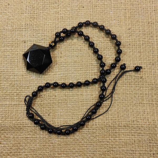 Obszidián gyógyító csillag medál nyakláncon